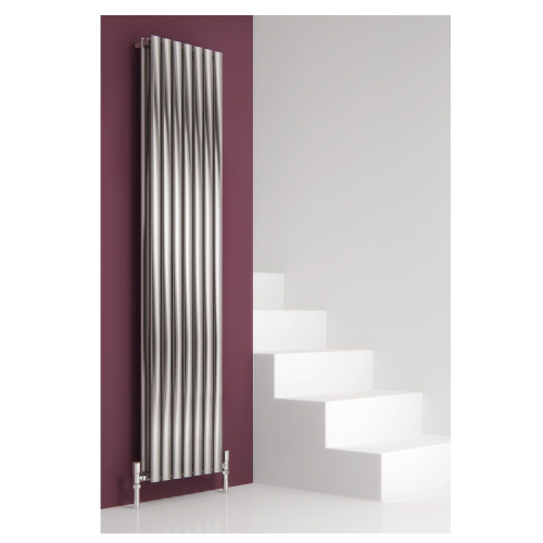 Reina Nerox Double Vertical Designer Radiator - 1800mm High x 354mm Wide - Brushed Stainless Steel